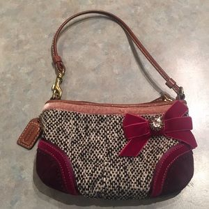 Coach tweed and suede wristlet